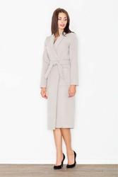 Beżowy płaszcz z wiązanym paskiem