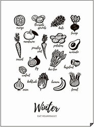 Plakat winter - eat seasonally 21 x 30 cm