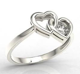 Pierścionek w kształcie dwóch serc z białego złota z cyrkonią lp-52b