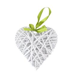 Ozdoba  zawieszka wiklinowa altom design serce białe 32x36 cm