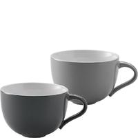 Filiżanki do kawy cappuccino lub herbaty emma stelton szare, 2 sztuki x-208-1