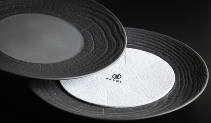 Półmisek prostokątny 32x23 cm, porcelanowy arborescence revol szary rv-648309-2
