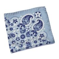 Błękitna jedwabna poszetka we wzór paisley