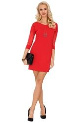 Czerwona dopasowana sukienka z transparentnym rękawem 34