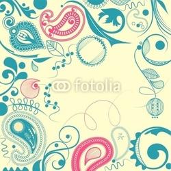 Obraz na płótnie canvas kwiatowa ramka, motyw paisley