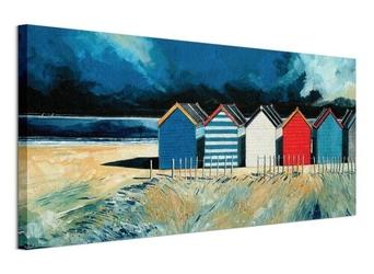 Beach huts and beach ii - obraz na płótnie