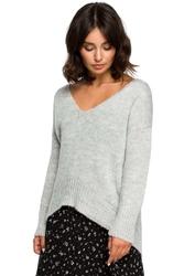 Popielaty szykowny sweter w serek z dłuższym tyłem