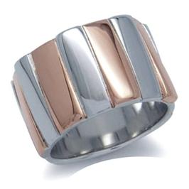 Zebrano srebrny pierścionek obrączka szeroka pozłacany