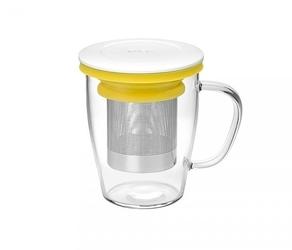 Kubek z zaparzaczem do herbaty 350 ml pao ming infuser biało-żółty