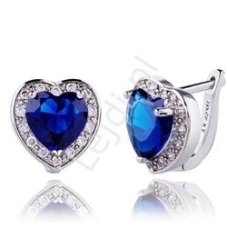 Kolczyki kobaltowe serca z kryształkami swarovskiego, pozłacane 18k białym złotem