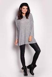 Szary sweter szeroki z długim rękawem