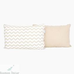 Poduszka dekoracyjna 60x40 - zygzaki - beżowo-białe