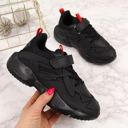 Buty sportowe chłopięce na rzep czarne american club - czarny  czerwony