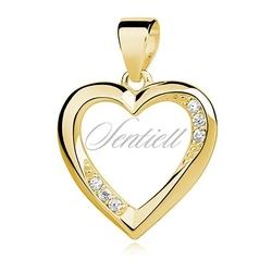 Srebrna zawieszka pr.925 serce udekorowane cyrkoniami - żółte złoto  biała