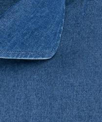 Koszula jeansowa slim fit ciemnoniebieska 45