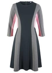 Sukienka punto di roma, rękawy 34, z kolekcji maite kelly bonprix czarno-jasnoszary melanż - pudrowy jasnoróżowy