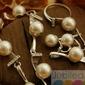 Srebrny komplet perły i kryształki abertis