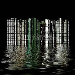 Obraz na płótnie canvas czteroczęściowy tetraptyk 3d miasto odbicie w wodzie
