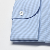 Elegancka koszula męska taliowana slim fit w błękitną krateczkę 42