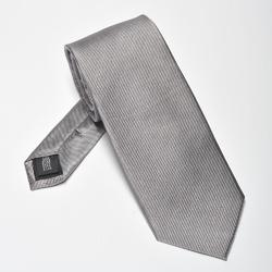 Szary krawat z jedwabiu w delikatny skośny splot - wąski 6,5cm, szary