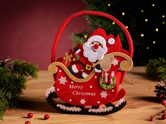 Opakowanie świąteczne na prezent  torba filcowa  torebka prezentowa altom design mikołaj w saniach