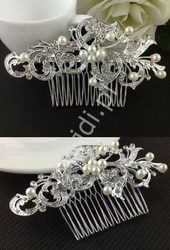 Grzebyk do włosów ze sztucznymi perełkami i kryształkami