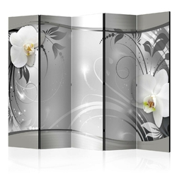Parawan 5-częściowy - srebrna abstrakcja ii room dividers