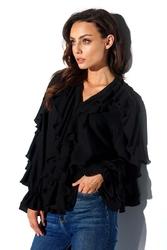 Czarna koszulowa bluzka z falbankami