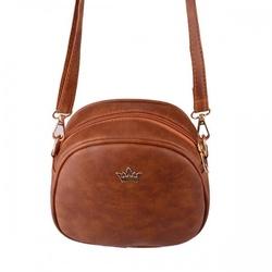 Mała torebka damska typu kuferek  listonoszka brązowa