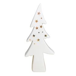 Ozdoba  dekoracja świąteczna  figurka porcelanowa dekoracyjna święta boże narodzenie altom design choinka biała ze złotymi gwiazdkami 10 x 4