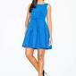 Niebieska szykowna sukienka z paskiem kontrafałda