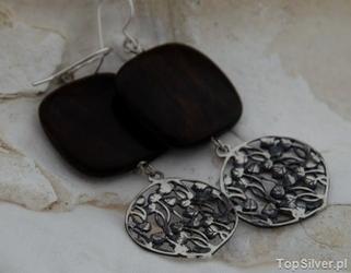 Mauritius - srebrne kolczyki z naturalnym hebanem