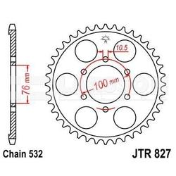 Zębatka tylna stalowa jt 827-52, 52z, rozmiar 532 2300489 suzuki gsx-r 1100