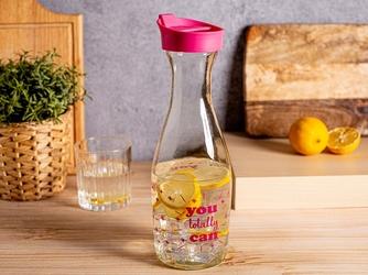 Karafka szklana na wodę i sok z pokrywą altom design 1000 ml różowa
