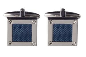Eleganckie spinki do mankietów kwadratowe - śrubki i niebieskie wnętrze
