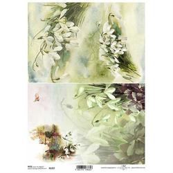 Papier ryżowy ITD A4 R1357 przebiśniegi kwiaty
