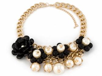 NASZYJNIK gruby łańcuch KWIATY 3D perły CZARNY - BLACK