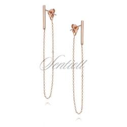 Srebrne 925 kolczyki z łańcuszkiem - różowe złoto - różowe złoto