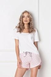 Aruelle q short biało-różowa piżama damska