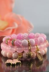Bransoletka z kamieni naturalnych, hand made , różowe, pastelowe