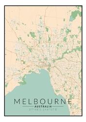 Melbourne mapa kolorowa - plakat wymiar do wyboru: 21x29,7 cm