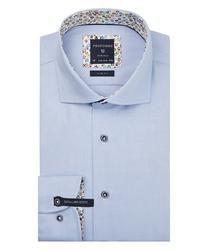 Ekstra długa niebieska koszula profuomo z wstawkami slim fit 44