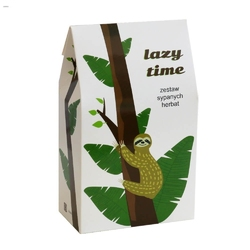 Lazy time. zestaw herbat do leniuchowania - 10 saszetek 10x 5g z herbatą różnego rodzaju i smaku + bawełniany filtr do herbaty, uniwersalny prezent upominek