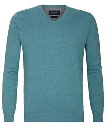 Turkusowy sweter  pulower v-neck z bawełny pima  xl