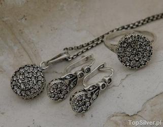Wiedeń - srebrny komplet z kryształami