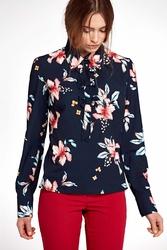 Granatowa kwiatowa nietuzinkowa koszulowa bluzka z kokardkami