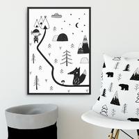 Scandi adventure - plakat dla dzieci , wymiary - 60cm x 90cm, kolor ramki - biały