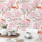 Tapeta na ścianę - flamingo peonies , rodzaj - tapeta flizelinowa laminowana