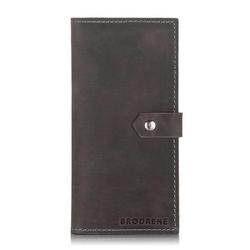 Skórzany portfel damski etui na telefon i karty brodrene sw09 szary - szary