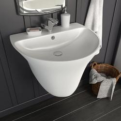 Vidaxl umywalka ścienna, ceramiczna, biała, 560 x 480 x 420 mm